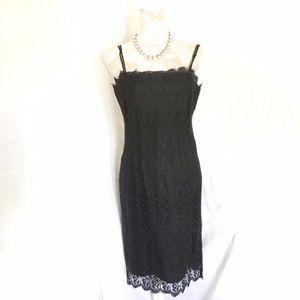 Trio NY // Black Lace Cocktail Midi Dress 10